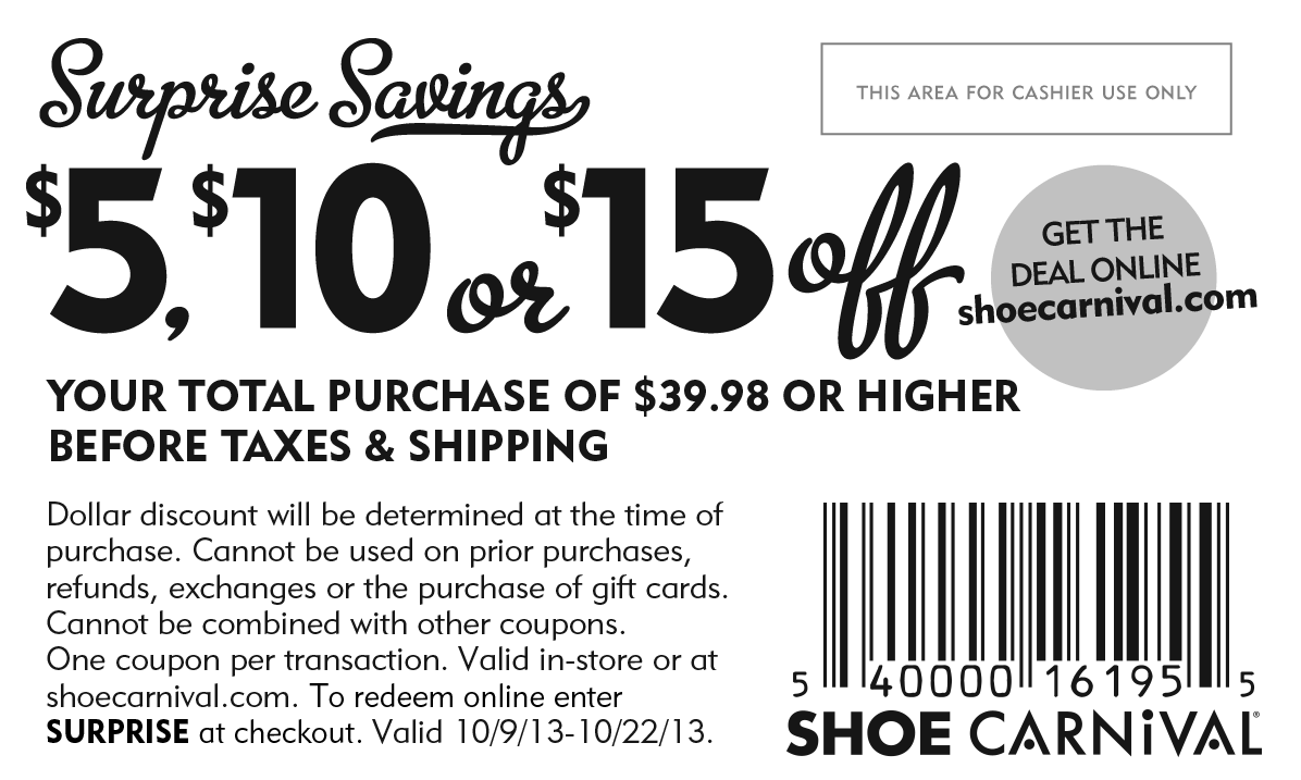 photo regarding Shoe Carnival Printable Coupons titled Pinned Oct 19th: $5-15 off $40 at Shoe #Carnival, or