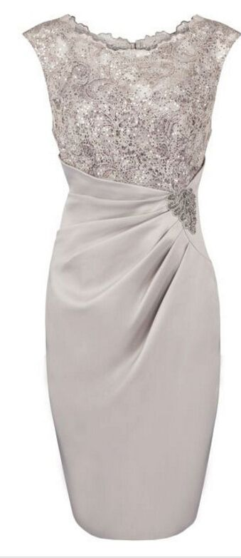 Sliver Mother Of The Groom Dresses Sheath Bride Short