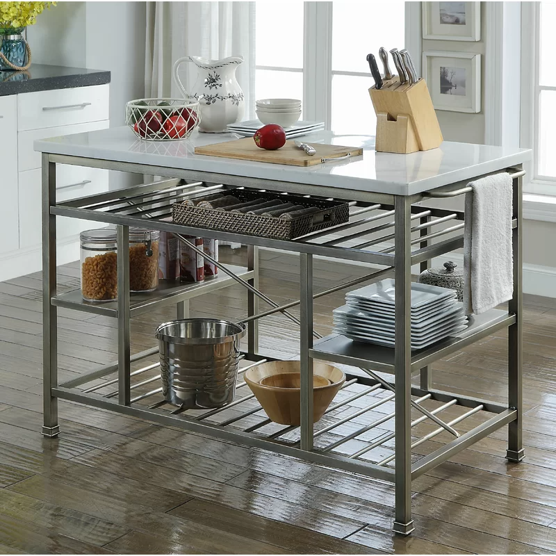 Detlev Prep Table With Marble Top In 2021 Portable Kitchen Island Rolling Kitchen Island Metal Kitchen Island