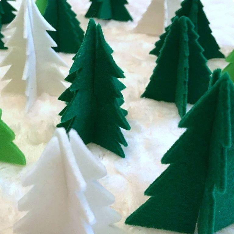 Christmas Tree Farm 3d Felt Christmas Trees In 2020 Felt Christmas Tree Felt Christmas Ornaments Felt Christmas