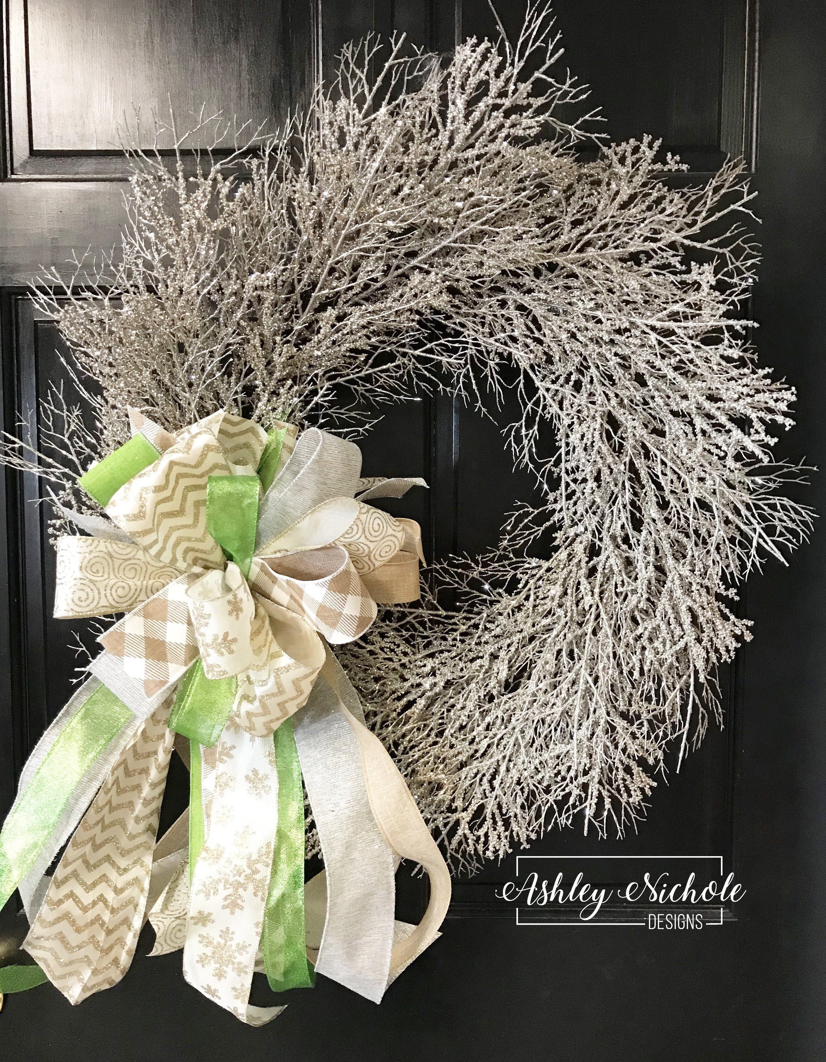 Champagne Glitter Twig Winter Wreath