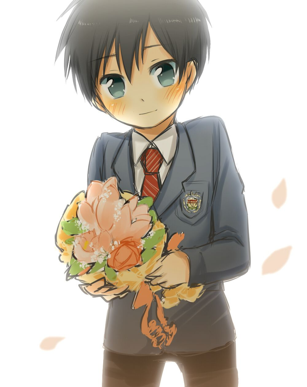 shota boy 3d anime School Boy with flowers