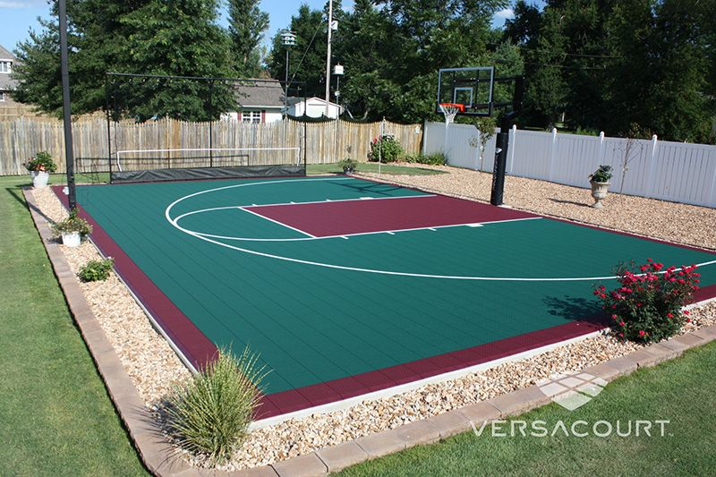 Backyard Sport Court Ideas this half court is a great space to practice shots it is particularly useful for Backyard Basketball Court