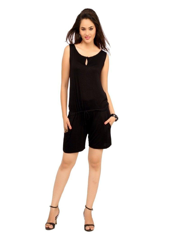 1f40e78a4003 Cottinfab Women s Black Solid mini jumpsuit Black Colour front pockets