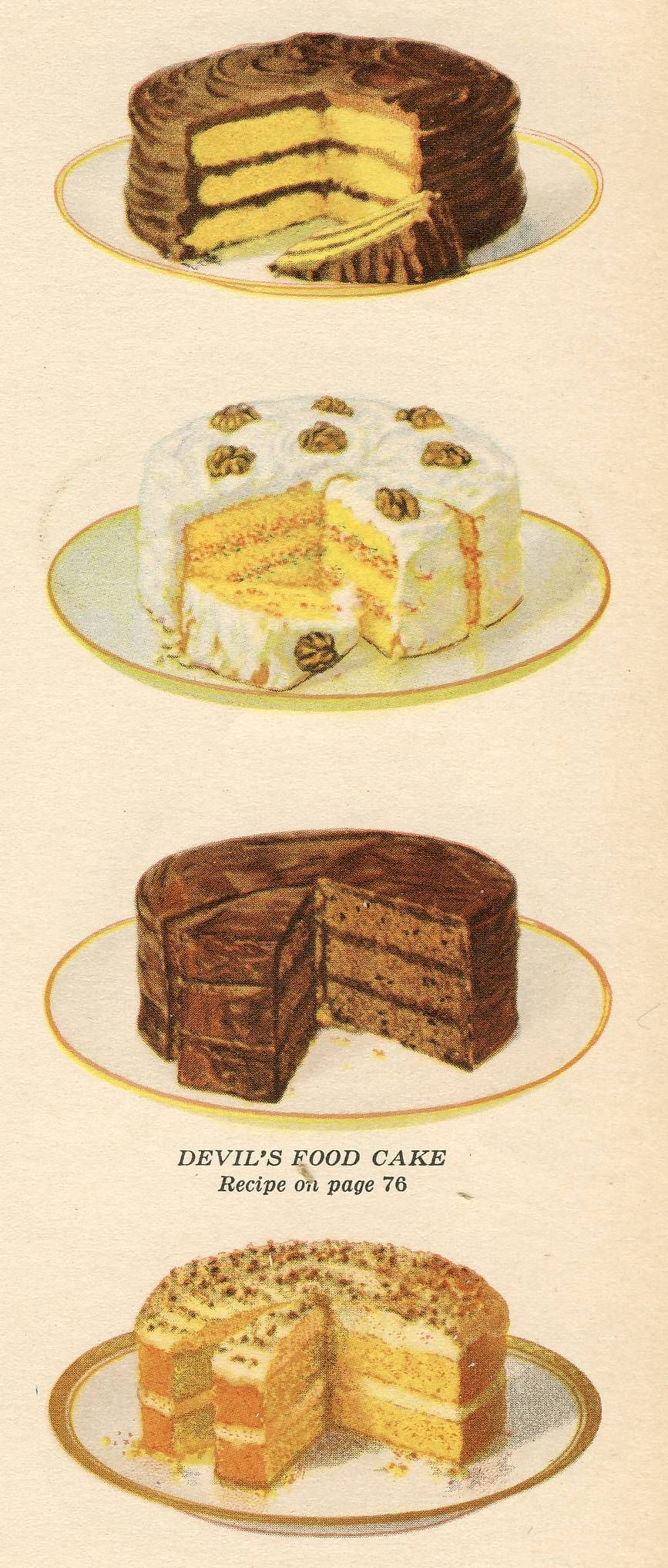 Printable - Cakes from an old cookbook