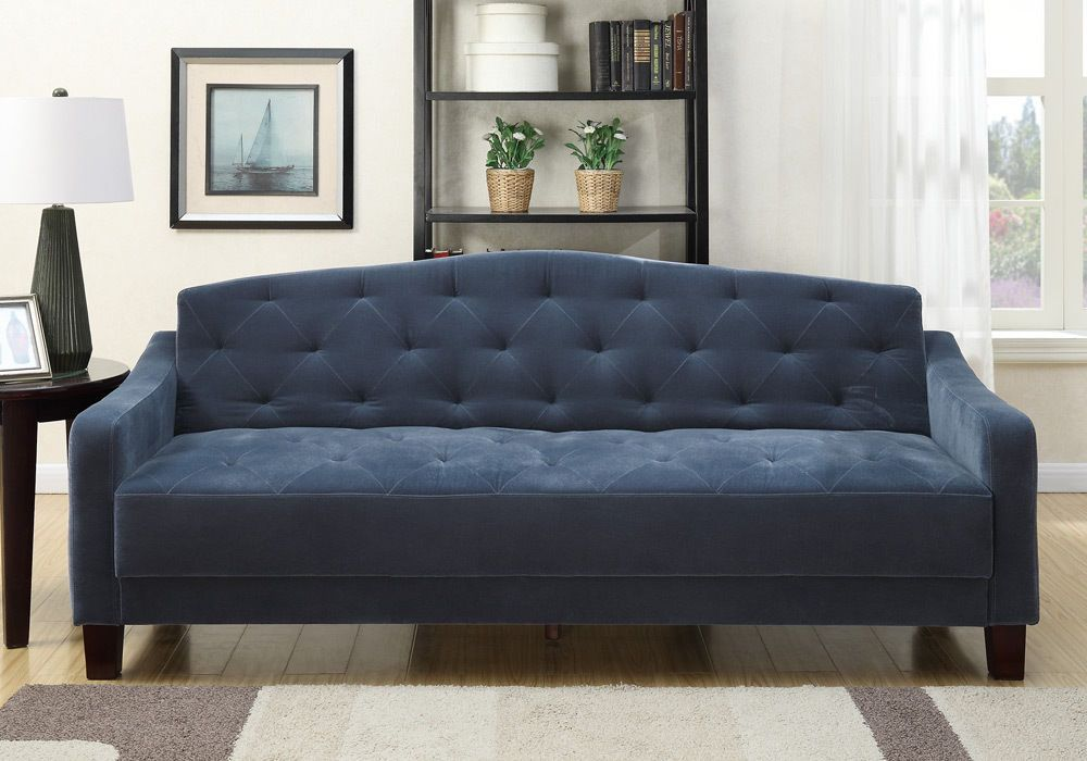 Luxury Adjustable Sofa Bed Futon Sleeper Tufted Smooth Plush Navy Blue Velvet Home Garden Furniture Sofas Loves Deep Sofa Sofa Sofa Upholstery