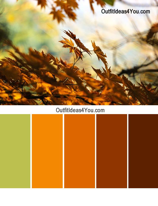 Autumn Color Combination Green Orange Brown Color