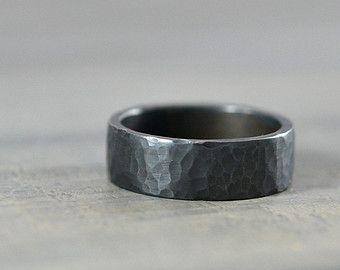 Hammered Black Sterling Silver Ring Band For Men Or Women Etsy Mens Wedding Bands Hammered Handmade Wedding Rings Hammered Wedding Bands