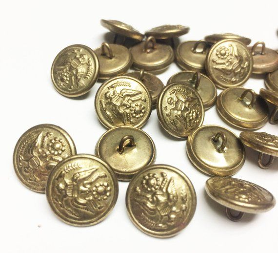 Lot of 26 Vintage Brass Buttons,