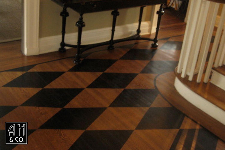 South Orange Diamond Harlequin Ebony Walnut Glazed Wood Floor Entryway Painted Wood Floors Flooring Painted Floors