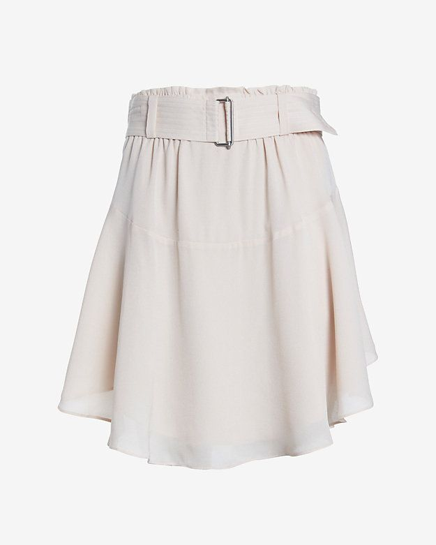 A.L.C. Asymmetrical Belted Miniskirt: Delicate silk moves with playful swing. Attached belt. Lined. In rose. Fabric: 100% silk Lining: 100% silk Model Measurements: Height 5'10; Waist 25 ; Bust 32   Length from waist to hem: 20 for size 2 #intermix #sweepstakes
