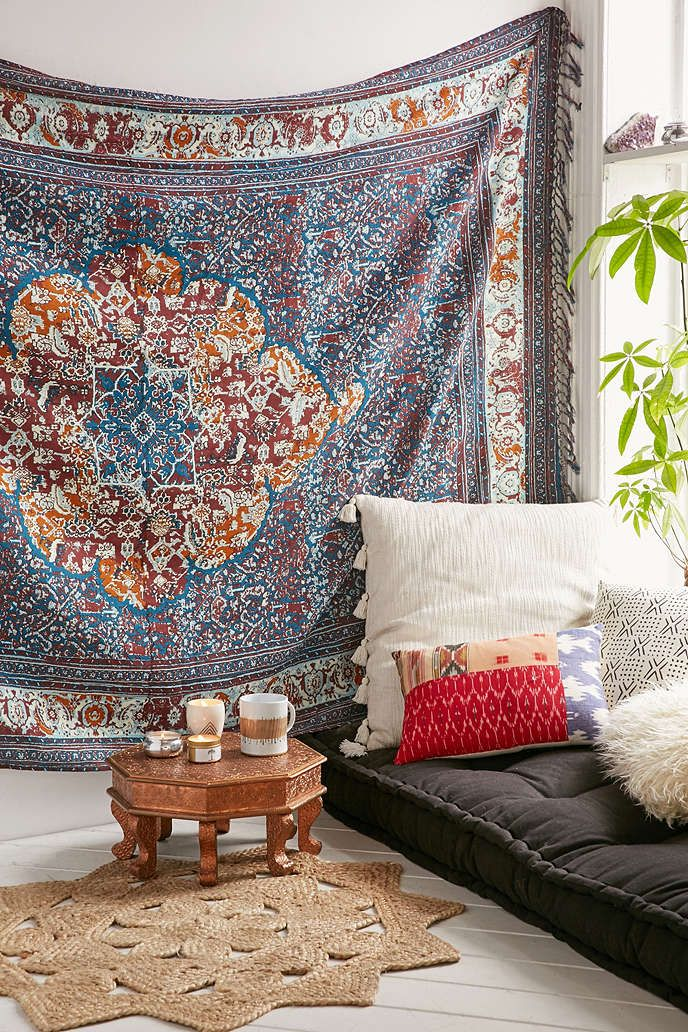 Magical thinking anahita boho worn tapestry urban - Bohemian urban fusion living room ...