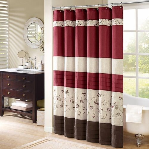 Red Brown Shower Curtain Fabric Embroidered Striped Bathroom Decor
