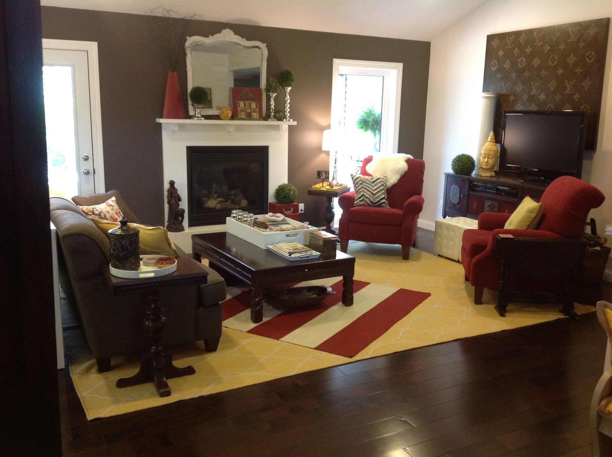 Red And Brown Living Room Ideas My Living Room Red Brown And A Splash Of Yellow In 2020 Brown Living Room Living Room Red Apartment Living Room #yellow #and #brown #living #room #decorating #ideas