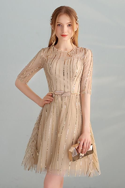 Gold Sequins A Line Short Tulle Half Sleeves Homecoming Dresses OKC98 8054f1880722