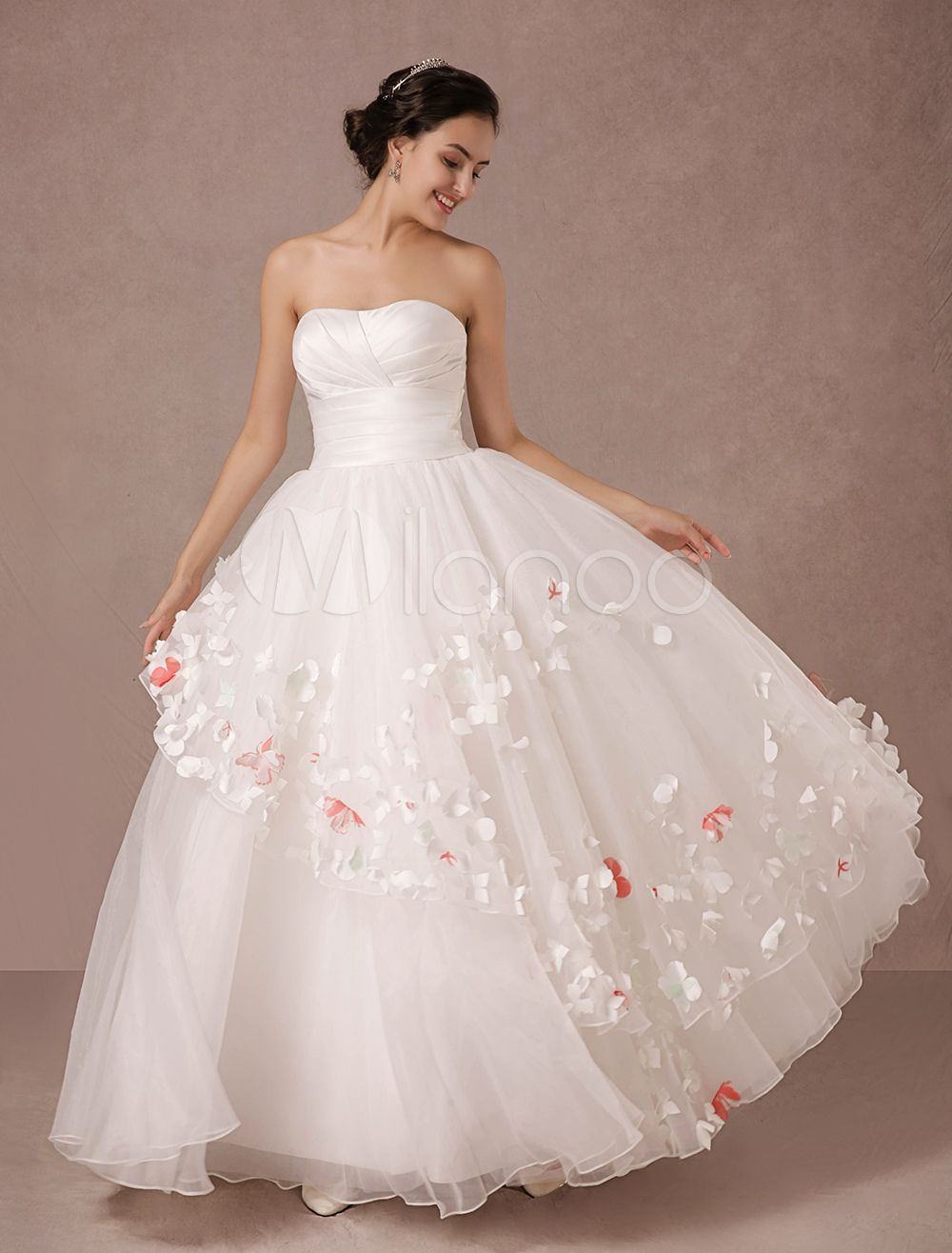 Trägerlosen Kleid Satin Organza Braut Brautkleid | Hochzeit
