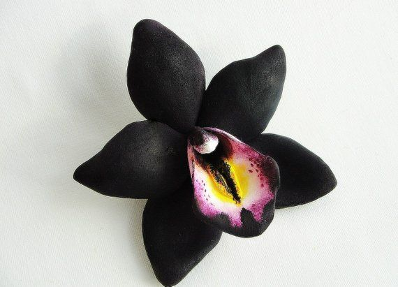 Real Touch Black Orchid Bridal Clip Black Hawaiian Orchid Flower Tropical Hair Clip Black Orchid Accessory Rockabill Orchid Flower Bridal Clip Black Orchid