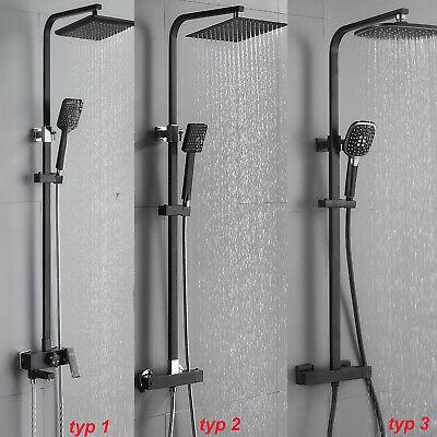 Duschset mit Thermostat Duscharmatur Regendusche Duschsystem Handbrause Schwarz