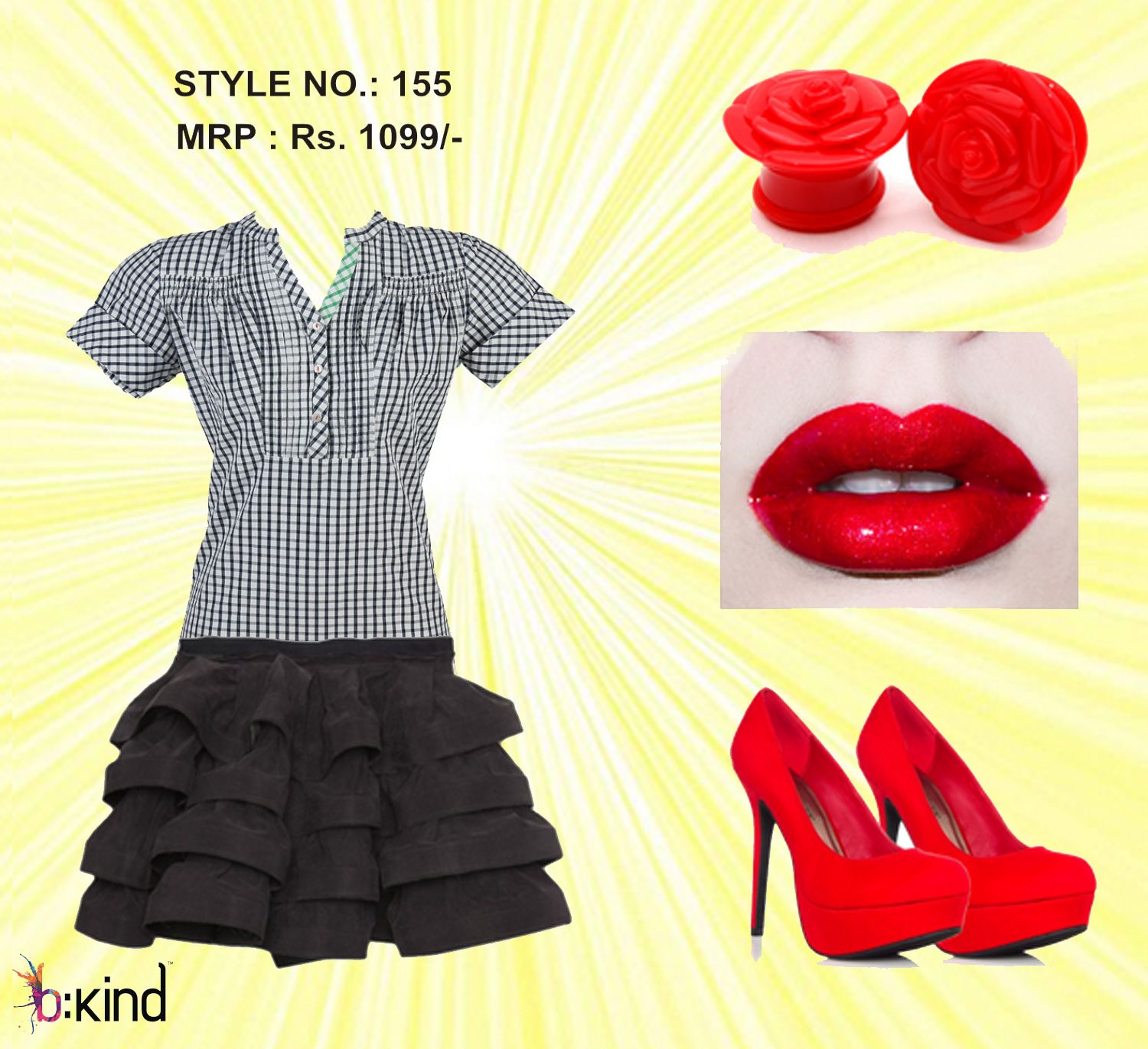 Fashionable red and black combination