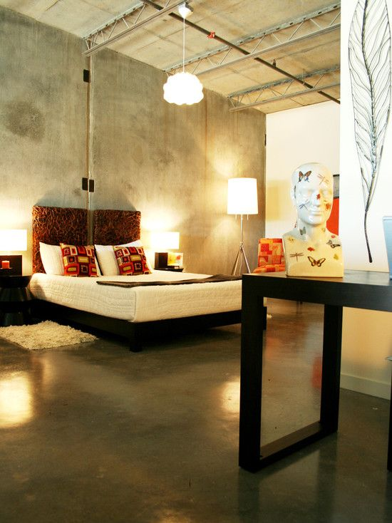 Concrete Floor Open Loft Design Pictures Remodel Decor And