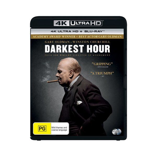 Product: Darkest Hour (4K Ultra HD + Blu-ray) [UHD] Based on: Real events Format: UHD Catalogue No: BDUHDI4986 Studio: Universal Certification: PG Release Date: 2018-05-09 Region: Region B Duration: 125 minutes Discs: 2 disc(s) Produced (year): 2017 Colour: Colour Extras: Language(s): English, Castilian Spanish, French European, Czech|Subtitles: English, Cantonese, Castilian Spanish, Czech, Danish, Dutch, Finnish, French European, Korean, Norwegian, Portuguese, Swedish|Interactive Menu|Screen ra