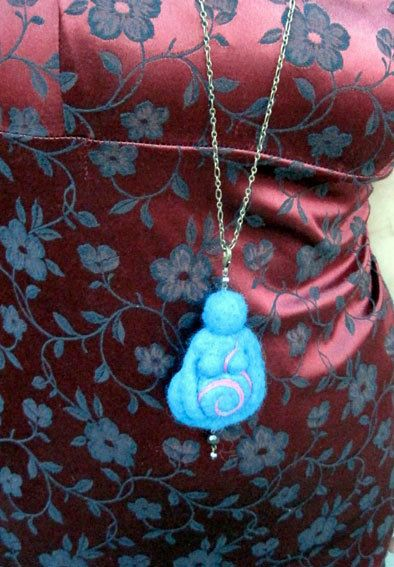 Needle Felted Gaia Turquoise Felted Goddess Pendant by boridolls