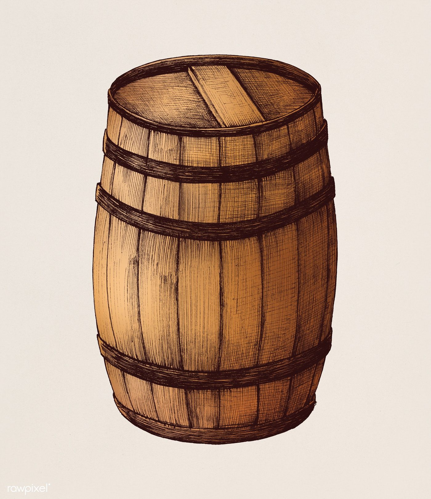 Hand Drawn Wooden Barrel Free Image By Rawpixel Com Wooden Barrel How To Draw Hands Barrel