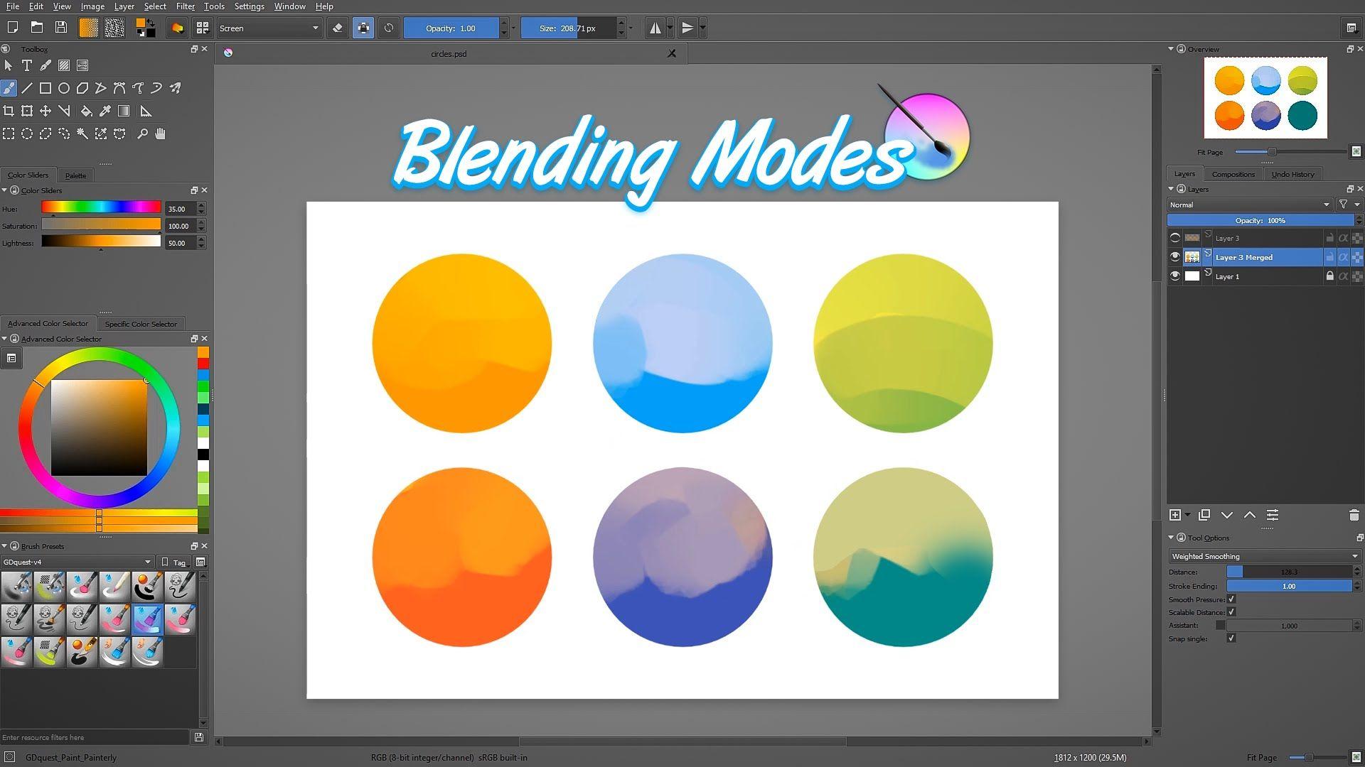 Krita tutorial: Understanding Krita's blending modes | Linux