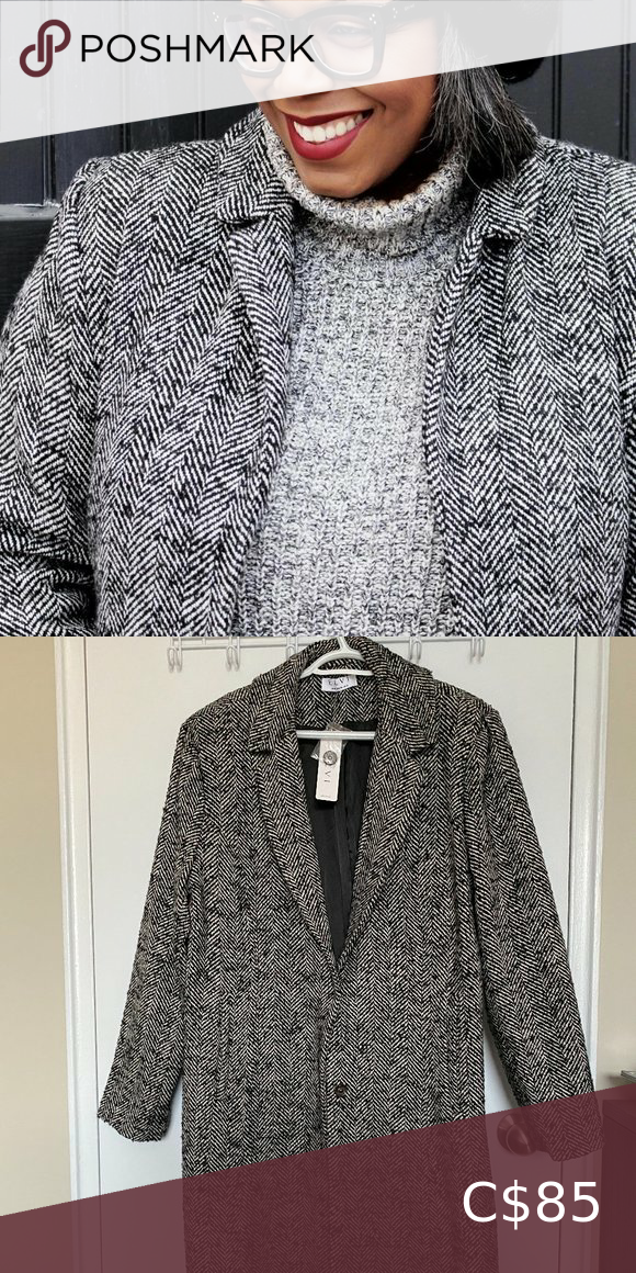 NWT Elvi Grey Herringbone Tweed Coat