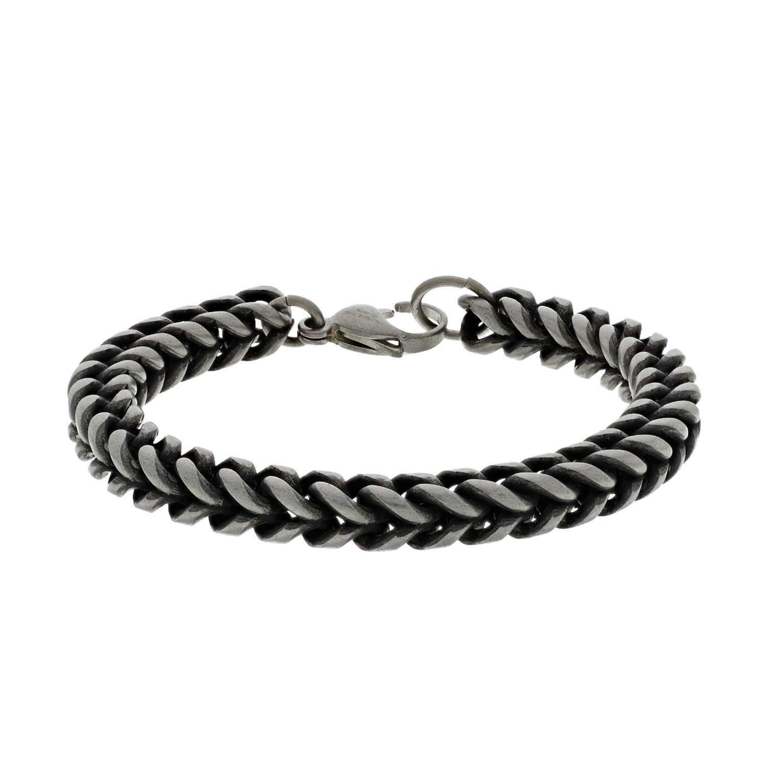 1913 Men S Oxidized Stainless Steel Square Cuban Chain Bracelet Affiliate Oxidized Stainless Men Steel In 2020 Cuban Chain Chain Bracelet Bracelets