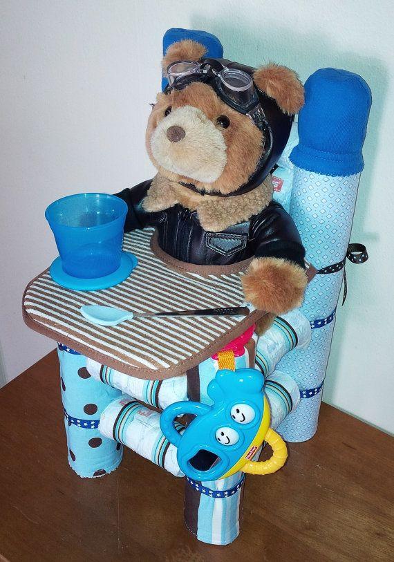 Pañal Baby regalos de trona torta de pañales por CreationsByDawne