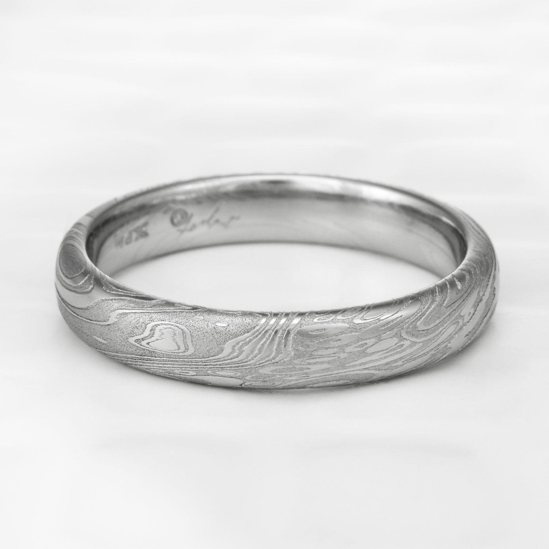TIDEPOOLS | Domed Damascus Steel Wedding Band | Pinterest | Damascus ...