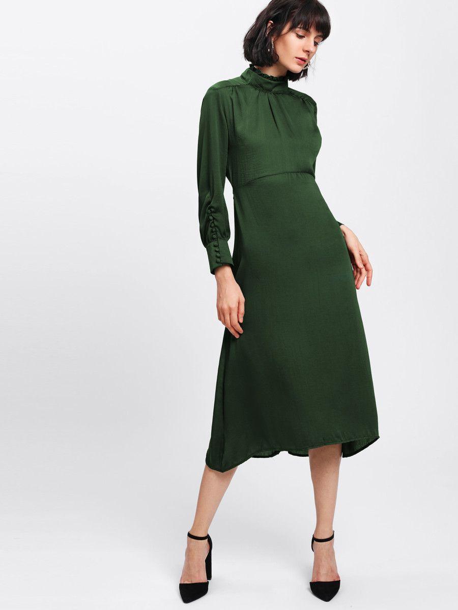 shop frill neck high waist midi dress online. shein offers