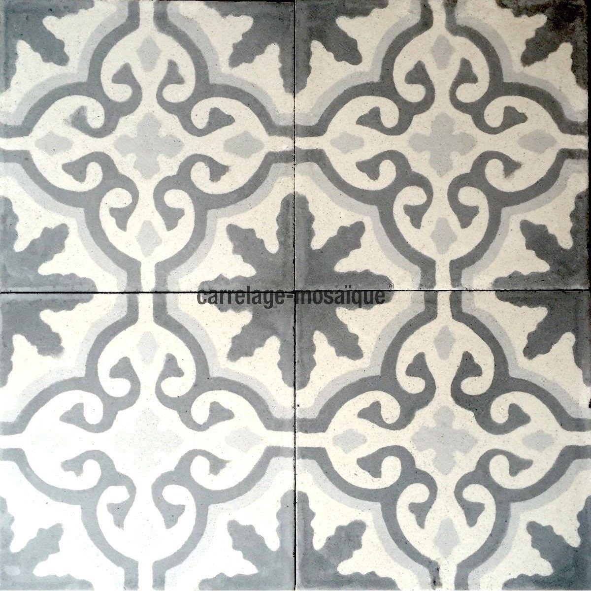 carreaux ciment anciens 1m2 modele flore-gris - carrelage-mosaique ...