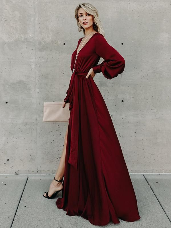 Photo of V-neck Long Sleeves Belted Maxi Dress