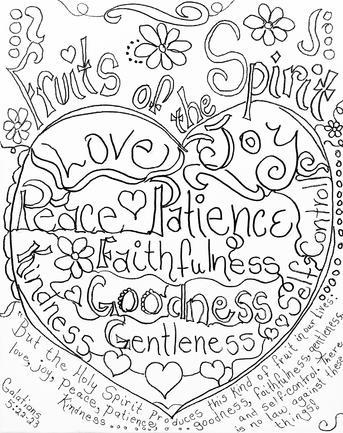 Fruits Of The Spirit Coloring Page By Carolyn Altman Galatians 5 22