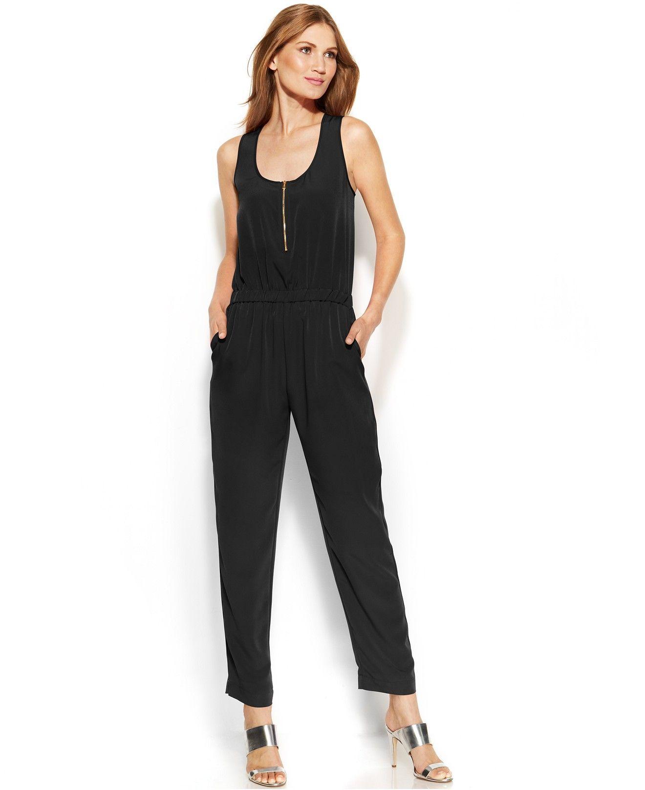 Calvin Klein Sleeveless Half Zip Jumpsuit Pants Capris Women