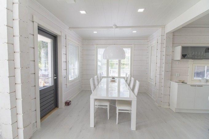 Keittiössä jatkuu yhtenäinen valkoinen sisustuslinja. http://www.winled.fi/