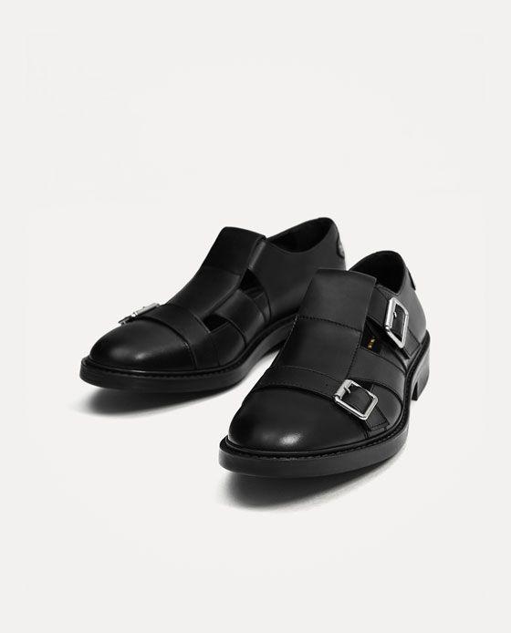 8973857fe Imagem 4 de SAPATO ABERTO PELE PRETO COM FIVELAS da Zara | calçados ...