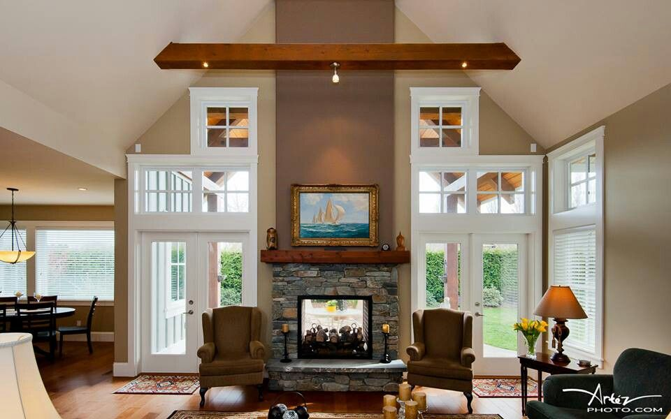 Living room double sided fireplace patio living for Building an indoor fireplace