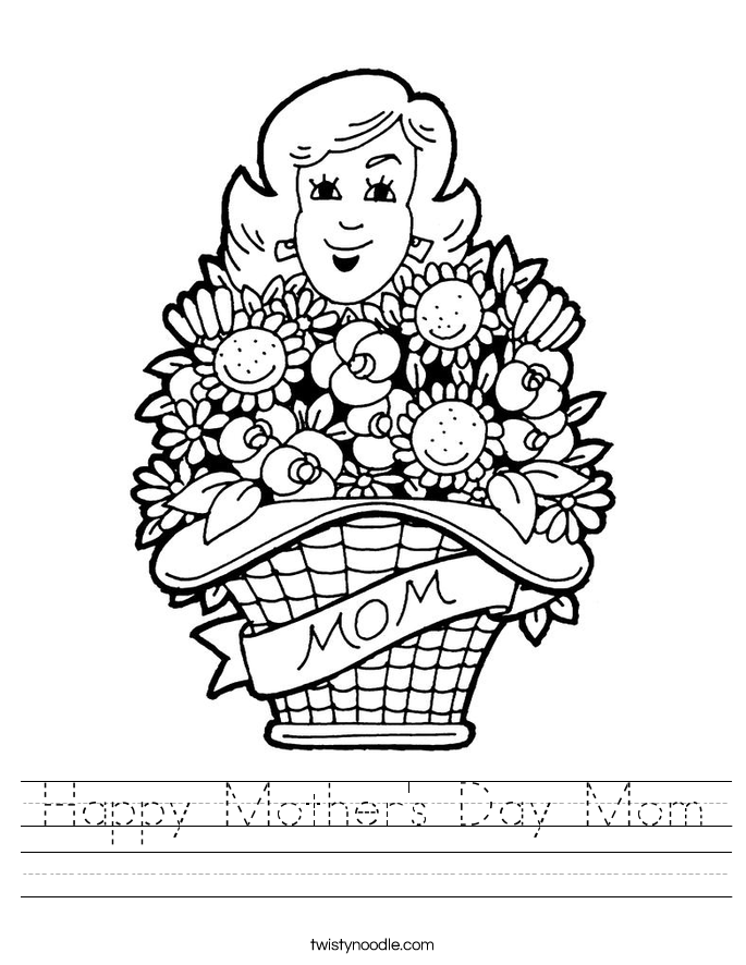 Happy Mother's Day Mom Worksheet - Twisty Noodle in 2020 ...