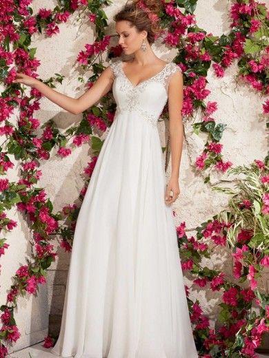 A-Line Straps Neckline Court Train Chiffon Wedding Dress With Applique at HerDress Online