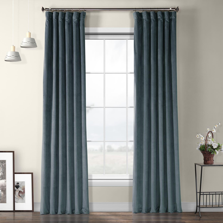 London Blue Plush Velvet Curtain With Images Velvet Curtains