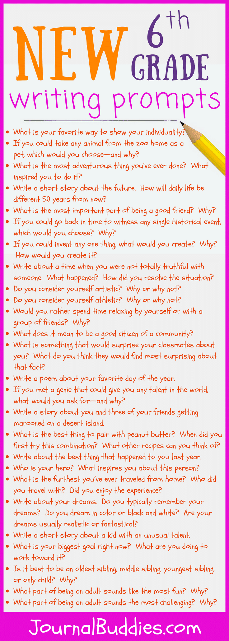 Use these 6th grade writing prompts to help your students form opinions and explore their ideas on paper.
