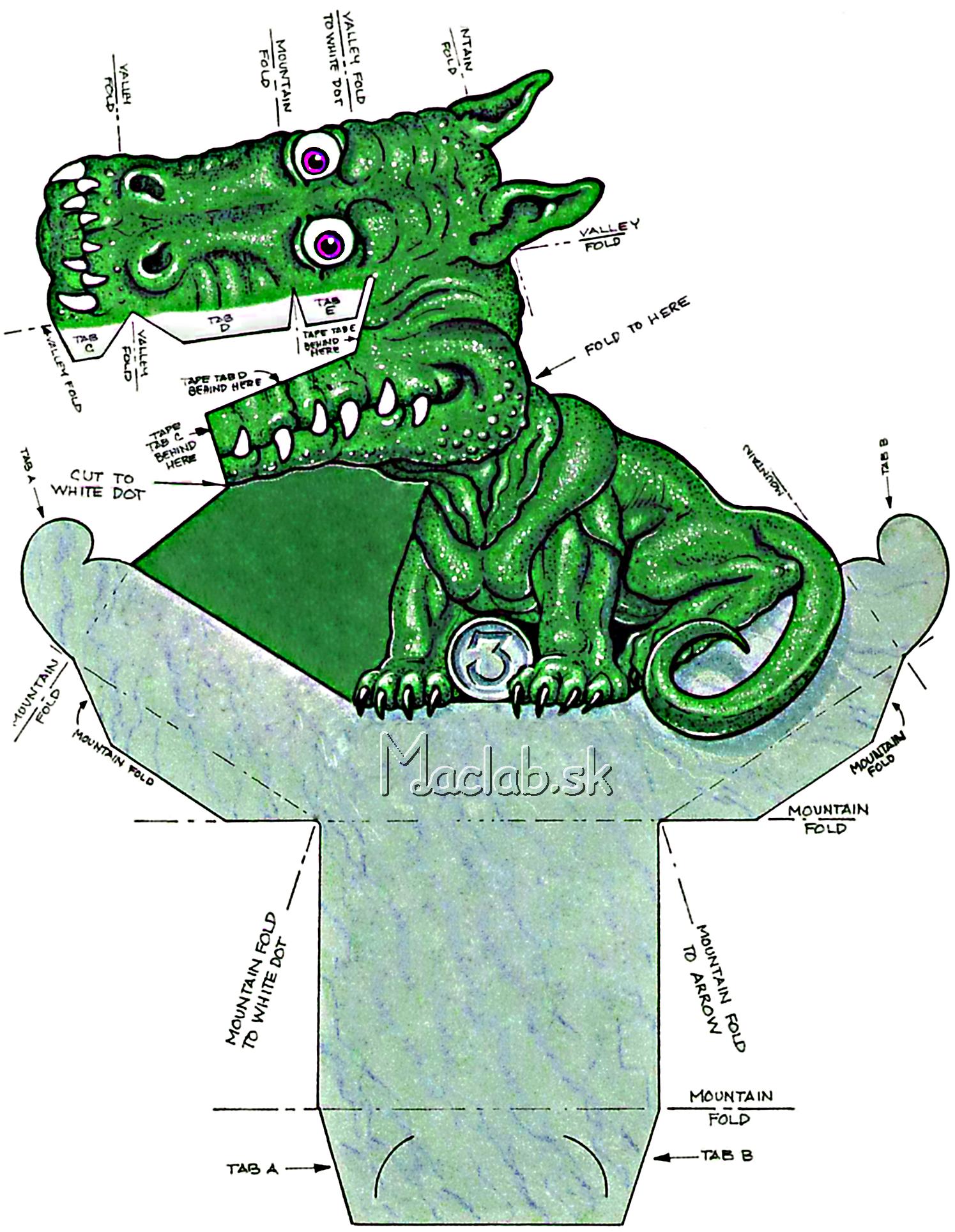 dragon cutout template - 3d dragon illusion print out moldes pinterest molde