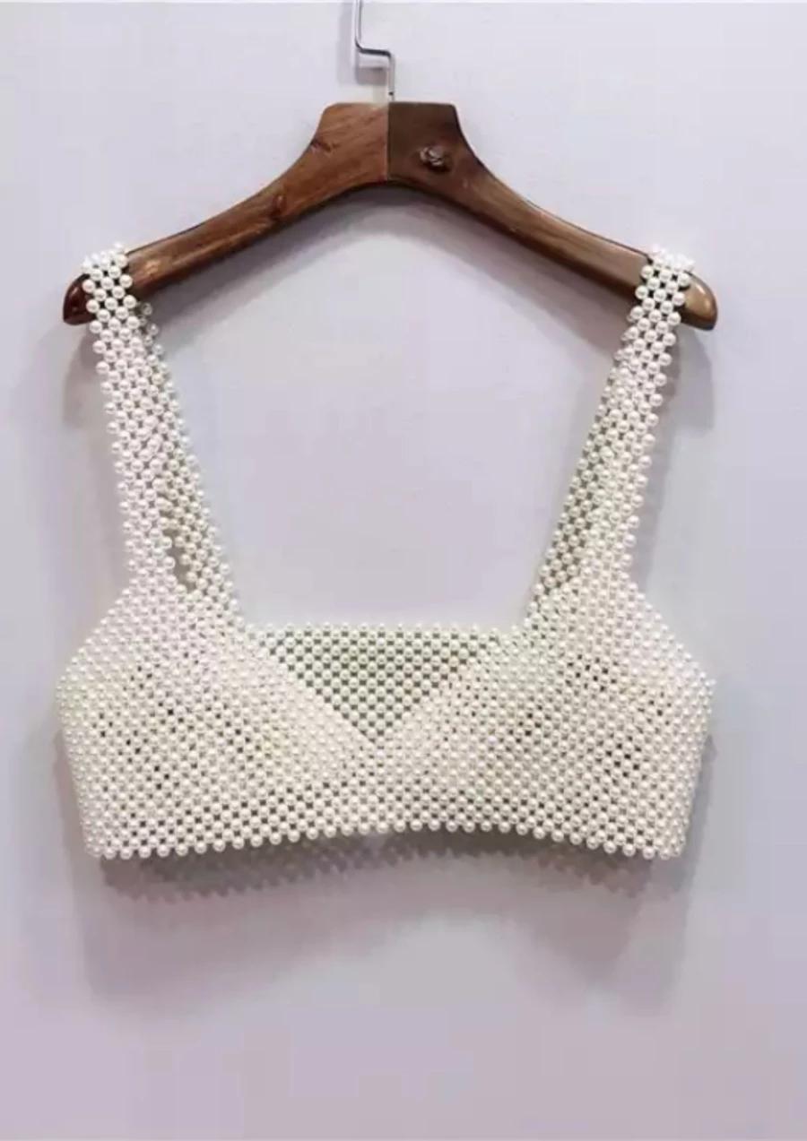 Pearl Crop Top Hand Beading Beaded Bags Pearl Bag