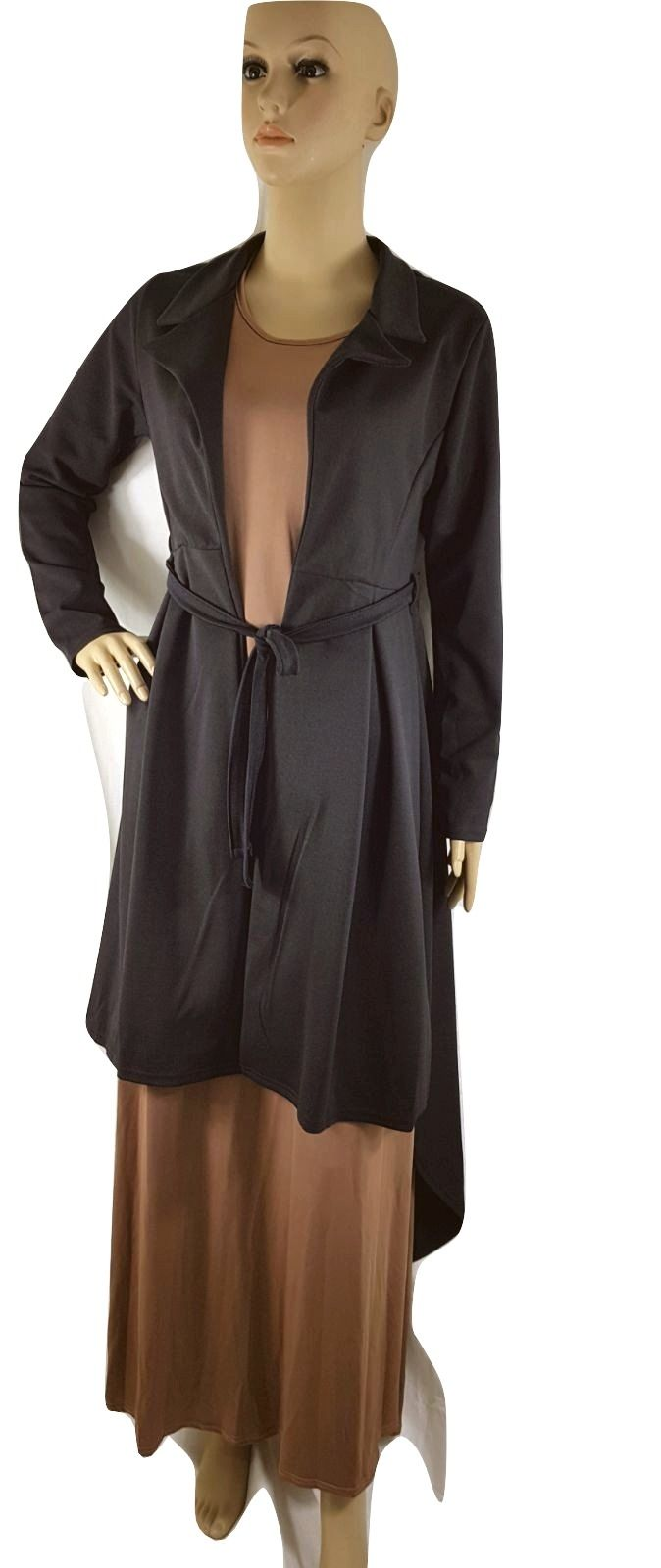 Women duster coat waterfall ladies maxi midi long tail drape jacket
