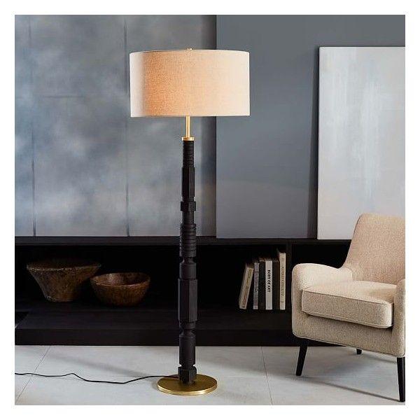 West Elm Adam Court Floor Lamp, Smoke ($319) via Polyvore featuring home, lighting, floor lamps, reading lights, floor reading lamps, wooden floor lamp, reading lamps and west elm
