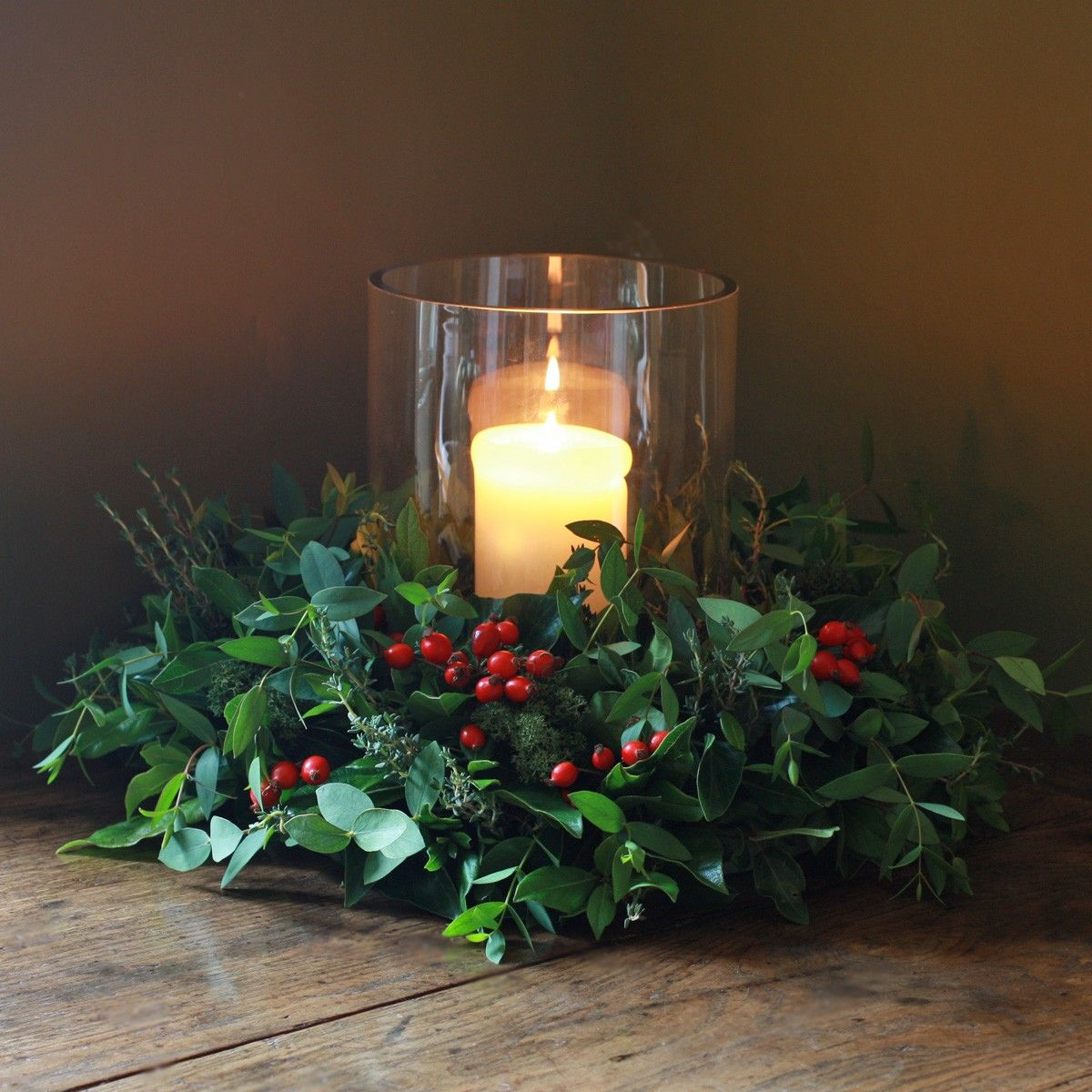 Christmas Rose Hips, Herbs And Foliage Table Wreath Http