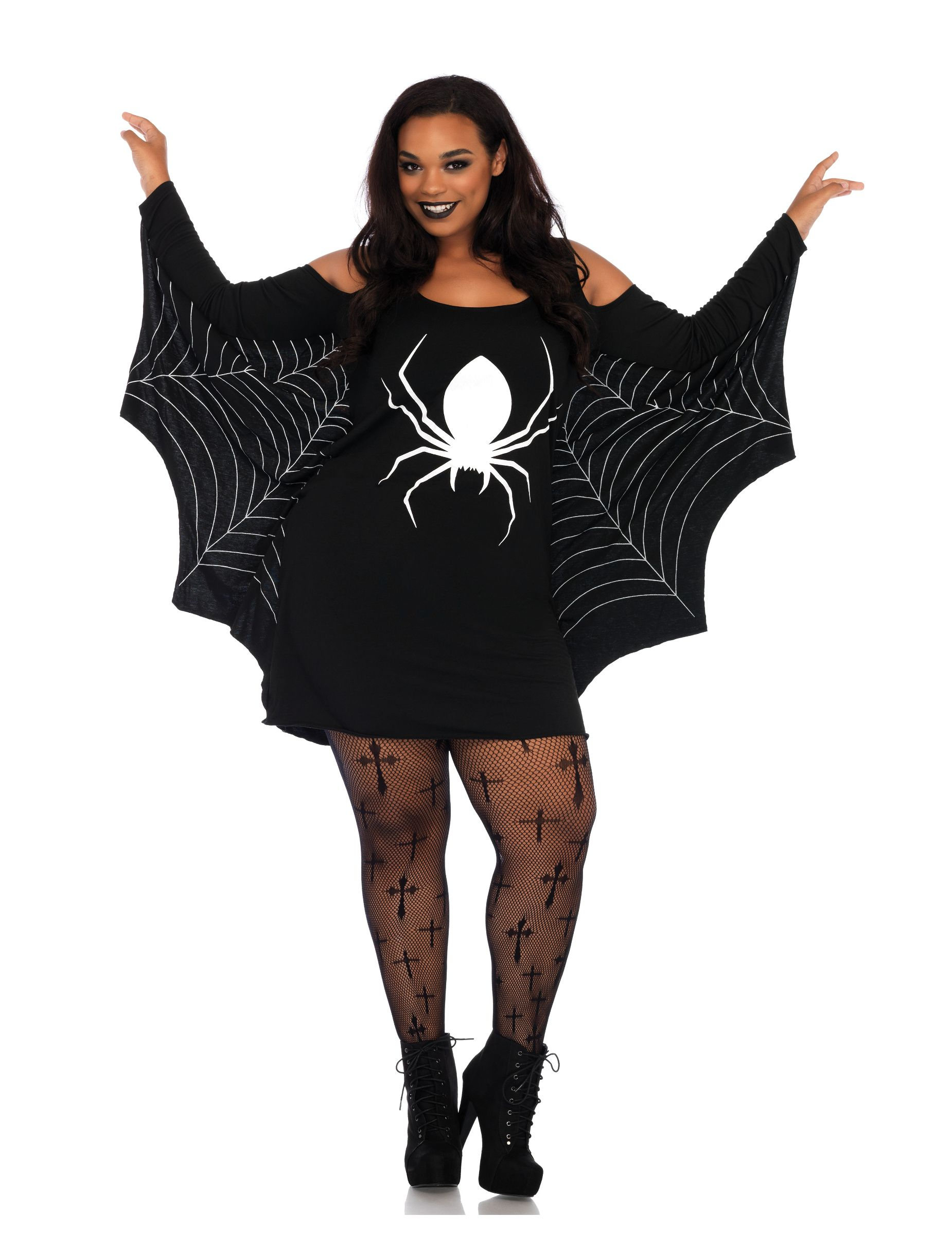 Costume ragno nero per donna  Questo travestimento da Vedova nera per donna  é composto da fd8ab0157e74